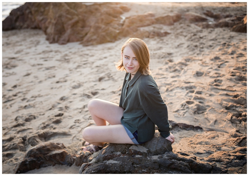 Dana HIlls High school senior portraits on the beach in downtown Laguna beach
