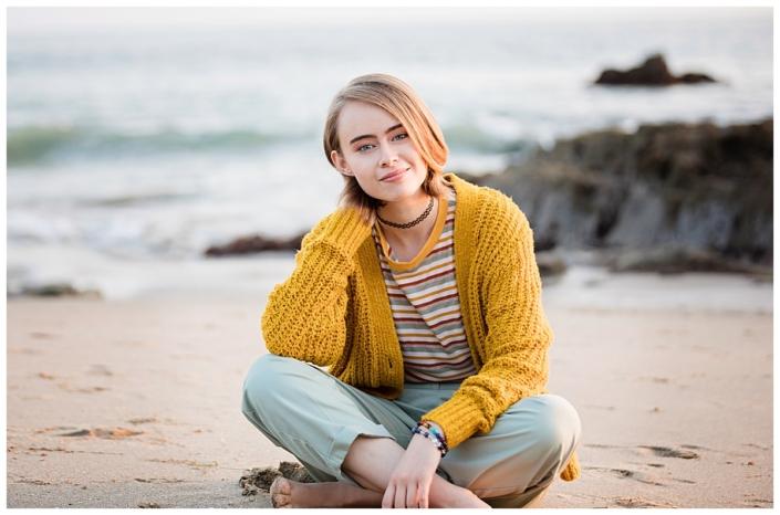 Senior portraits taken in Laguna Beach at sunset
