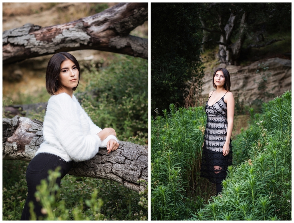 Fallen tree photo shoot for high school senior