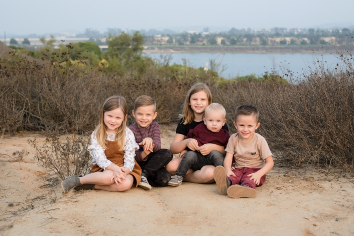 Five kids at a family photo session in Newport Beach's upper back bay