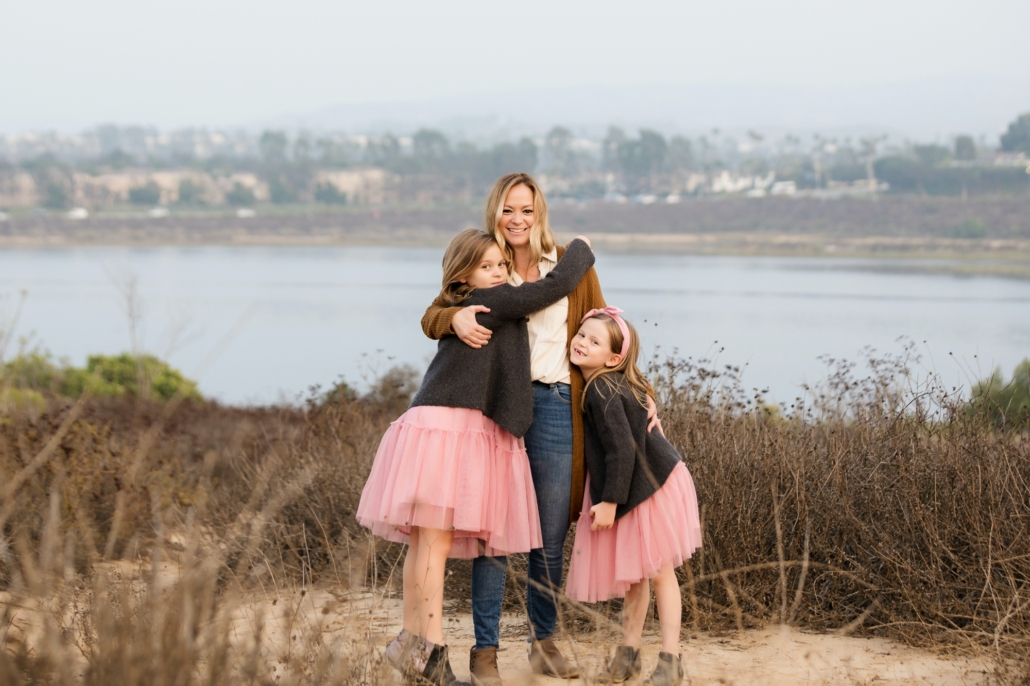 A Mom with her daughters at an Orange County Family photo shoot