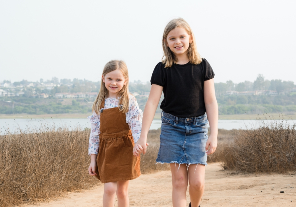 Sisters photography session at Newport Back Bay in Orange County