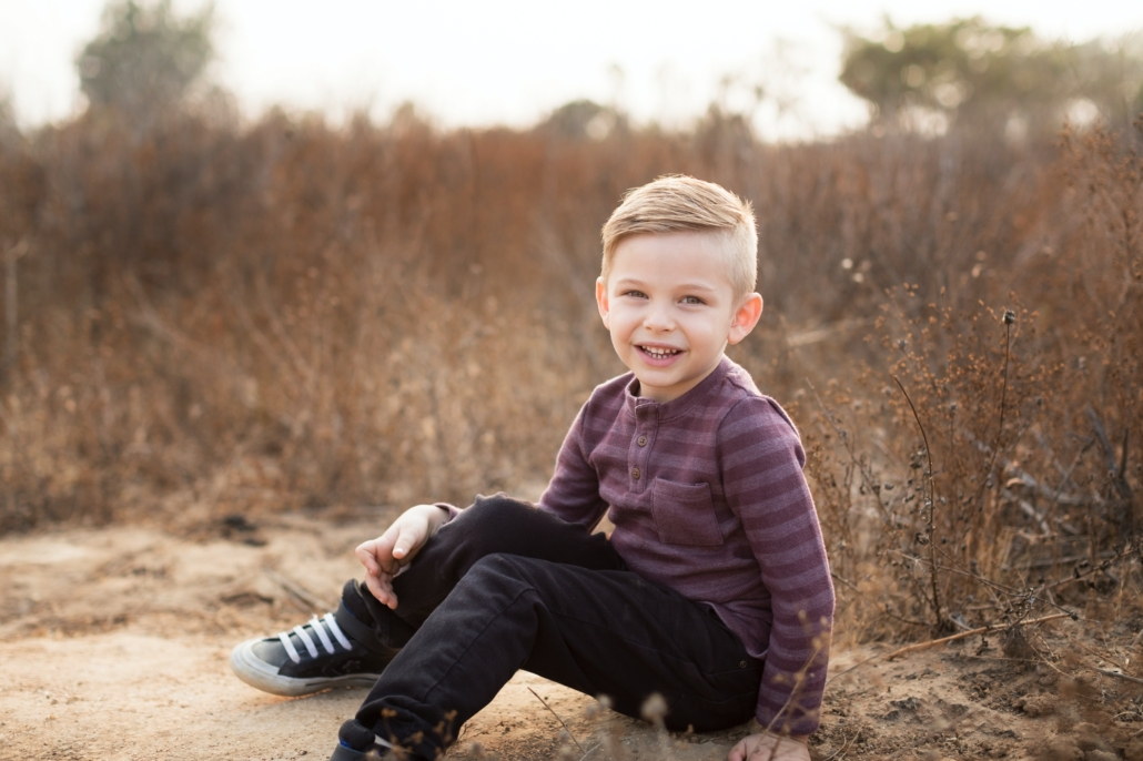 Five year old boy professional photo shoot in Orange Counties upper back bay