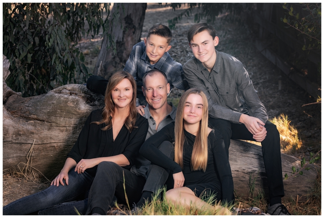 Orange County Family photographed in the field surrounding Laguna Hills.  This family when with a black and grey color scheme for their family photographs.