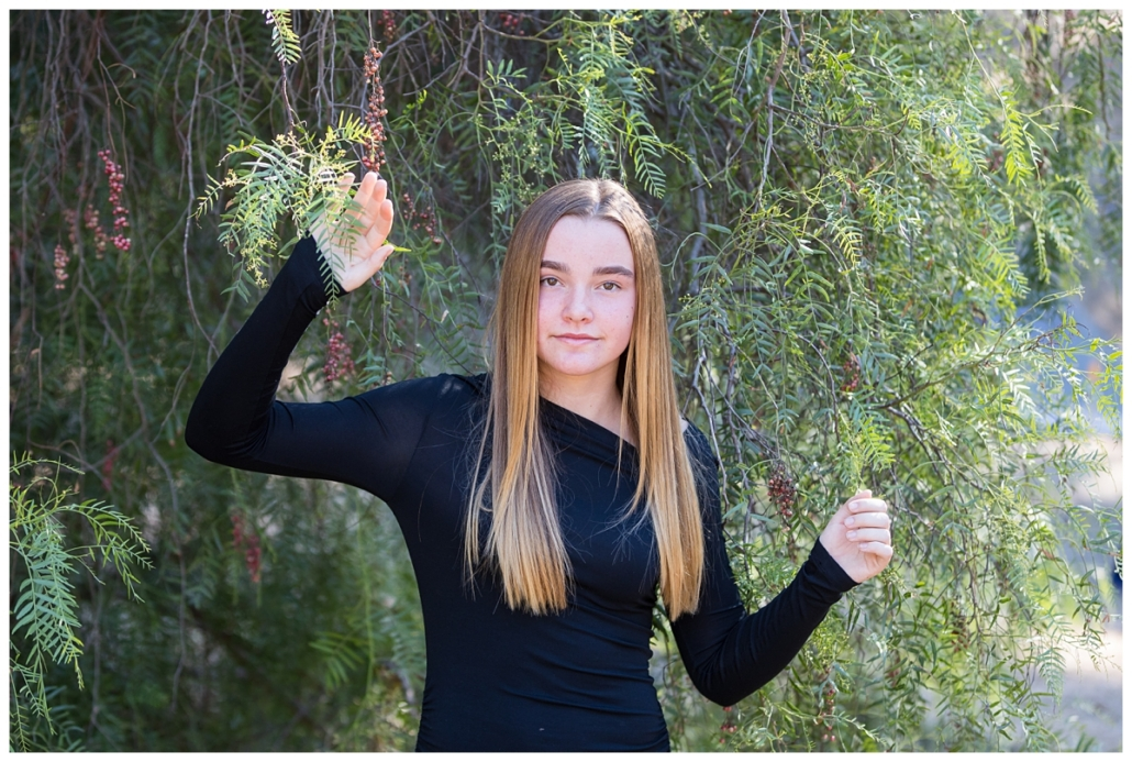 Tween girl photographed in Orange County for a family portrait session.