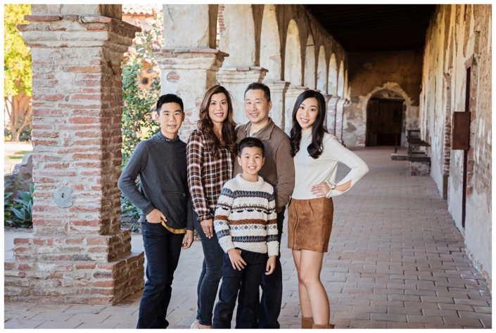 Orange County Family photo shoot at the Mission in San Juan Capistrano. The clothing for the session is Fall inspired with lots of layers and textures.