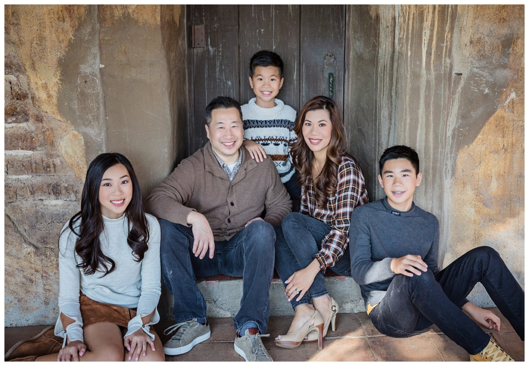 Orange County family portraits in the Mission at San Juan Capistrano.  These clients are dressed for Fall in layers and rustic colors.