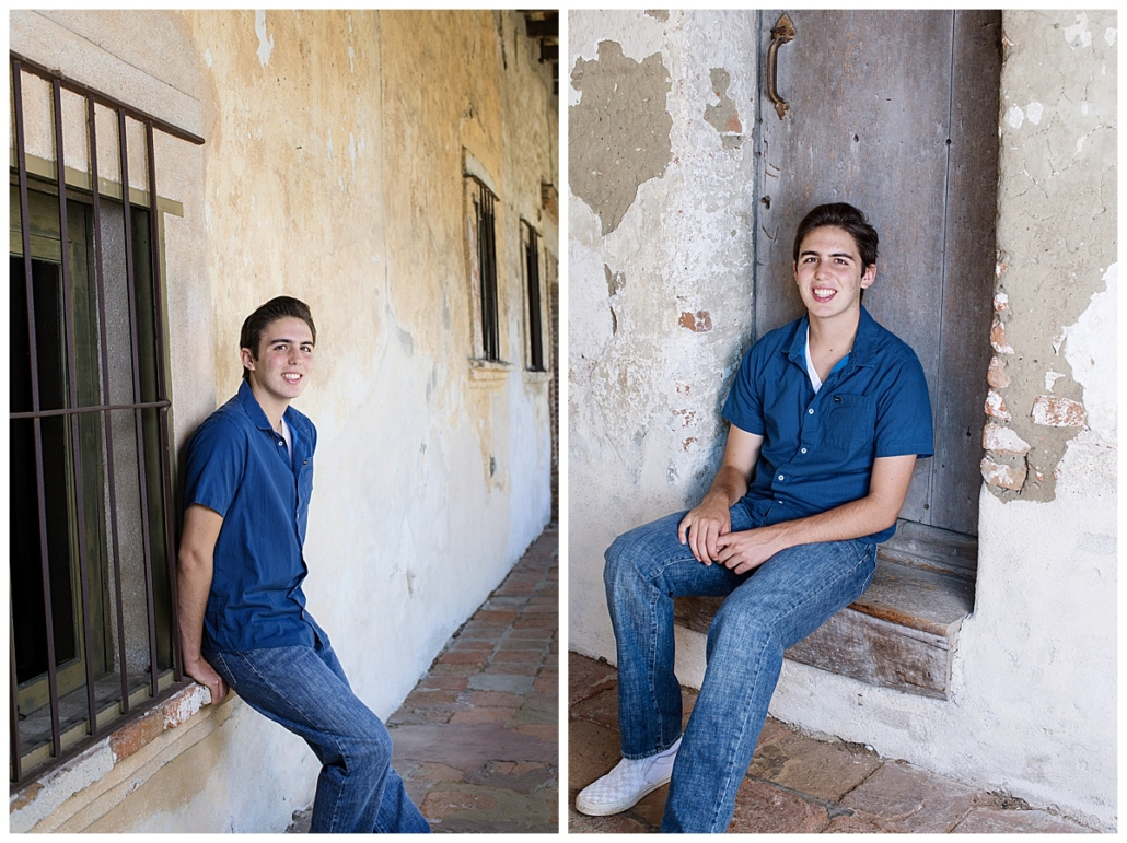 Mission San Juan Capistrano high school senior guy pics in a doorway