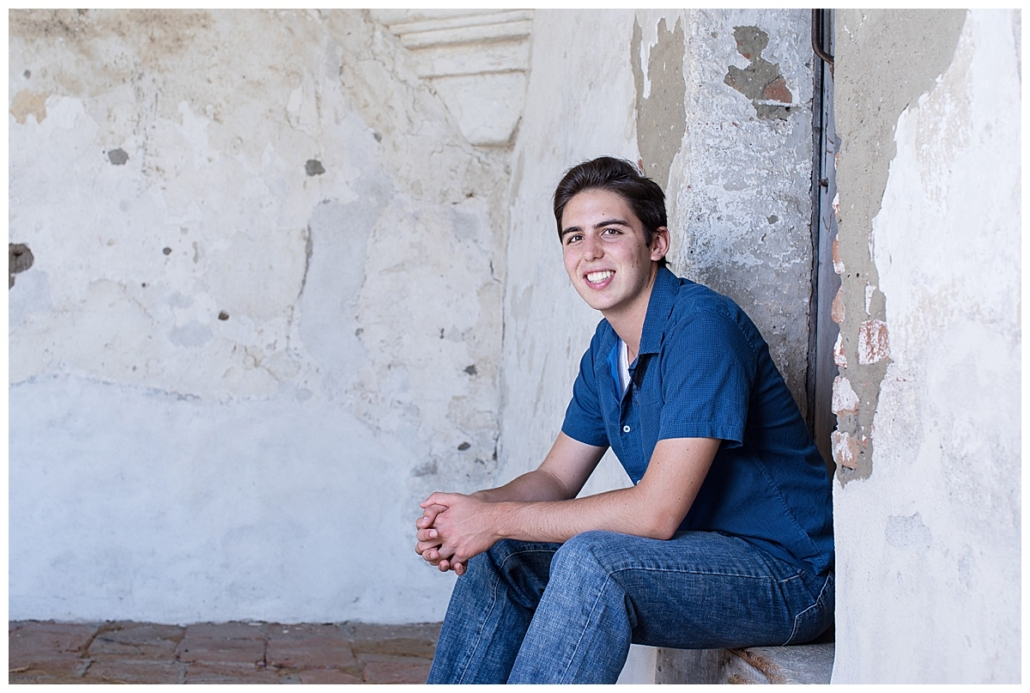 High school senior guy pics at the Mission in San Juan Capistrano