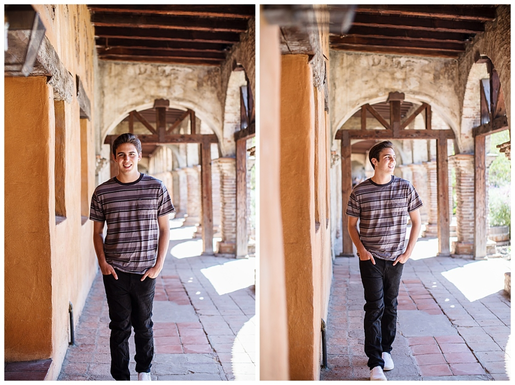 High School senior guy pic session walking in the archways of the Mission in San Juan Capistrano