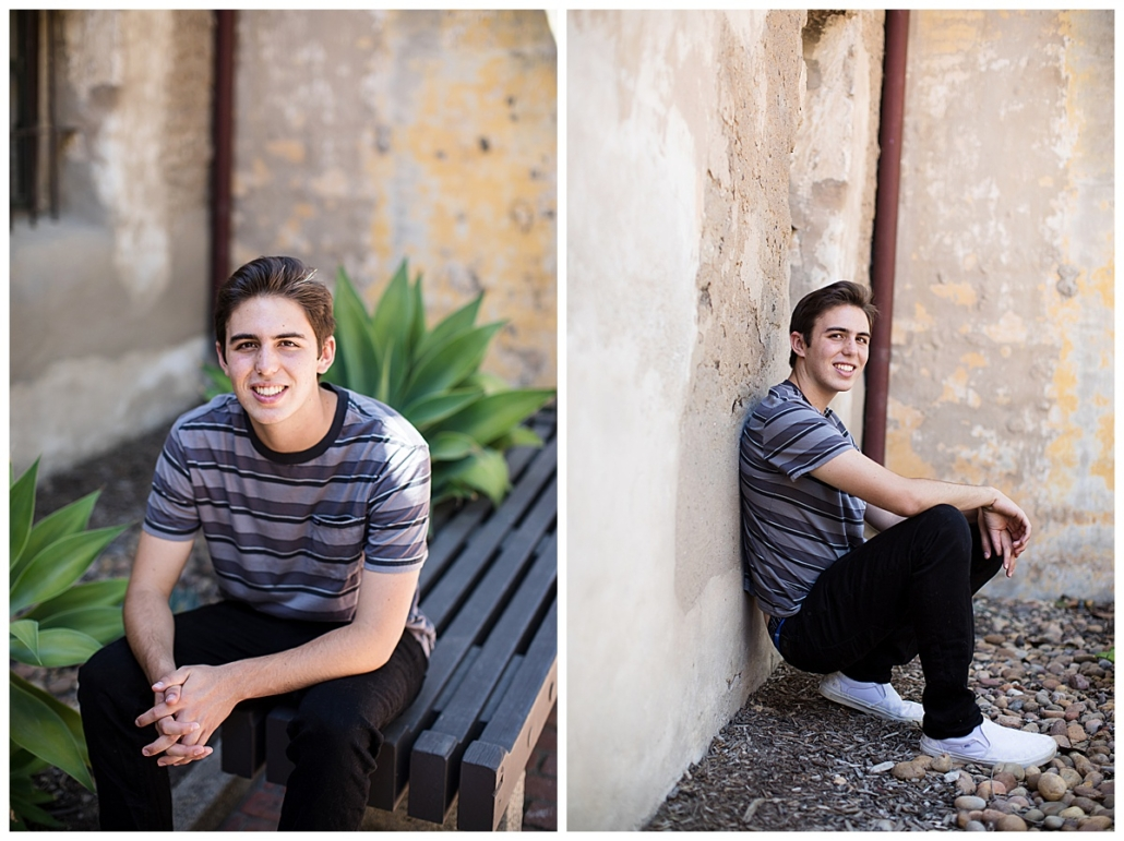 In the garden at the Mission in San Juan Capistrano at a high school senior portrait session