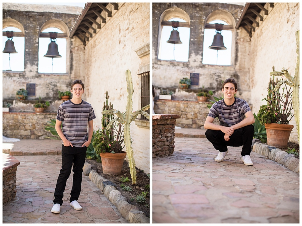 High School senior guy pic session in the bell courtyard at the Mission in San Juan Capistrano