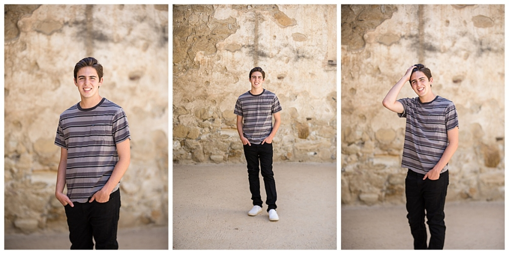 high school senior guy posing with hands in pocket at the mission in San Juan Capistrano