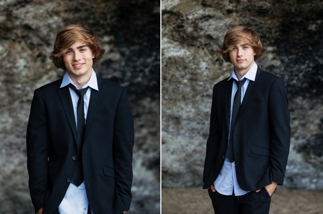 High School senior portrait session at Table Rock Beach in Laguna Beach. Senior dressed in Formal clothing.
