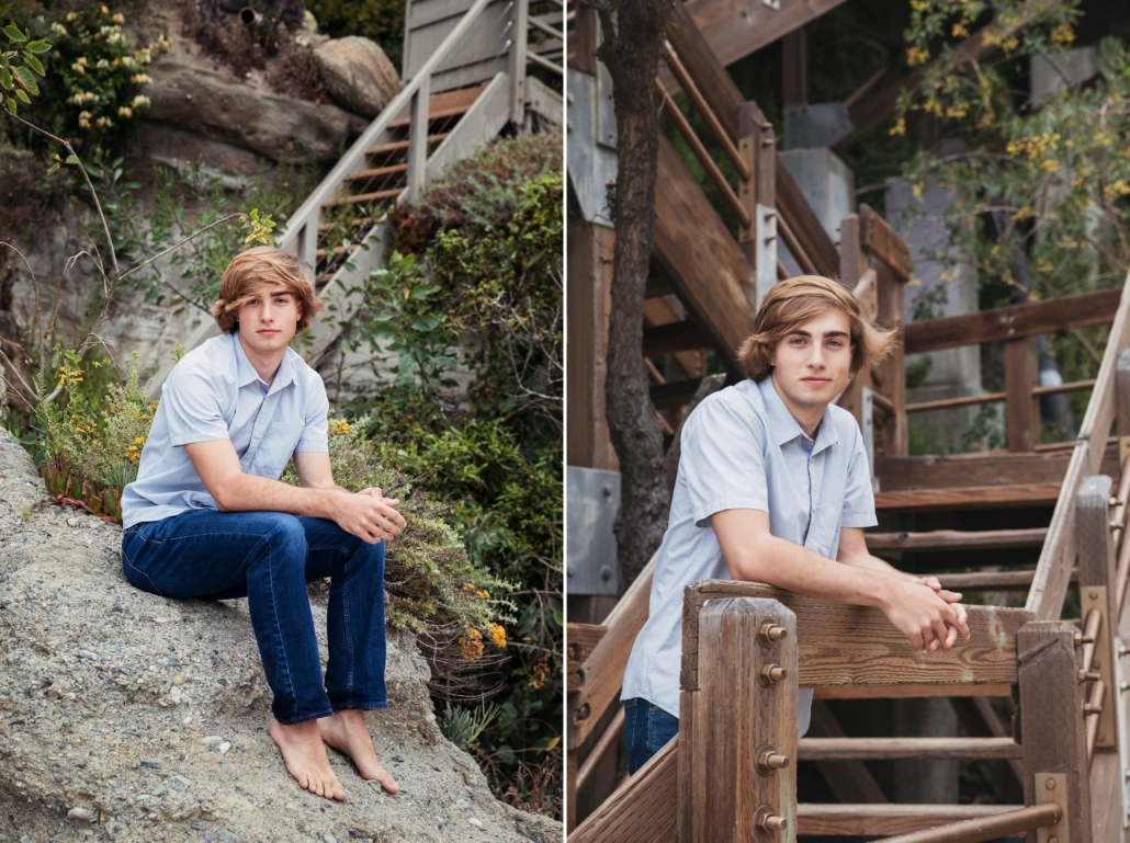 High school senior portraits at Table Rock beach with an urban background.
