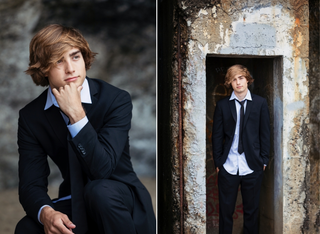 Urban inspired high school portraits at the beach in Laguna Beach.