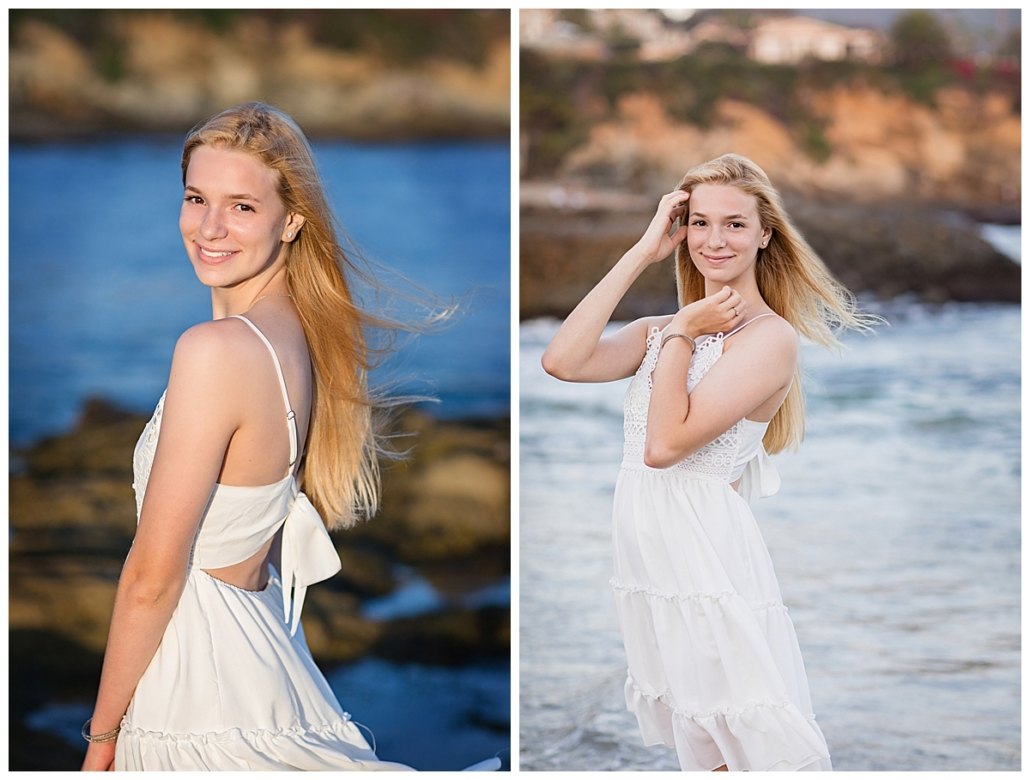 Natural light high school senior portraits at the beach in front of the Montage Resort