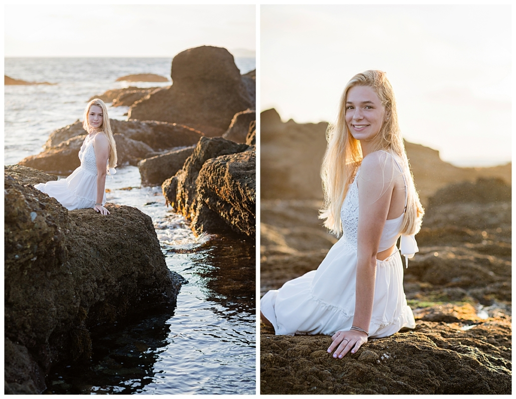 Girl High School Senior portraits in a white dress at the beach in Orange County