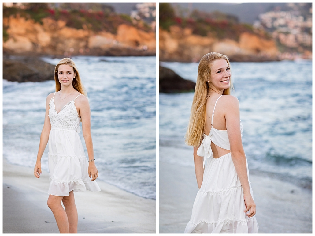 High School senior portraits playing in the ocean at the beach in Laguna Beach