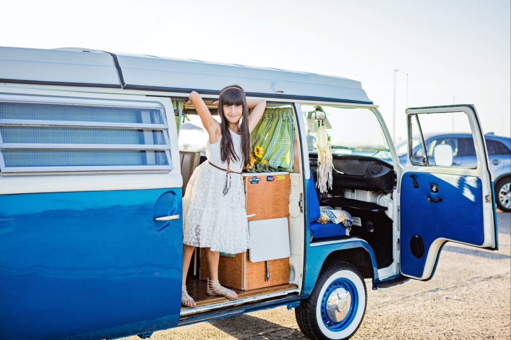Vintage Blue VW van family portrait session in Orange County CA