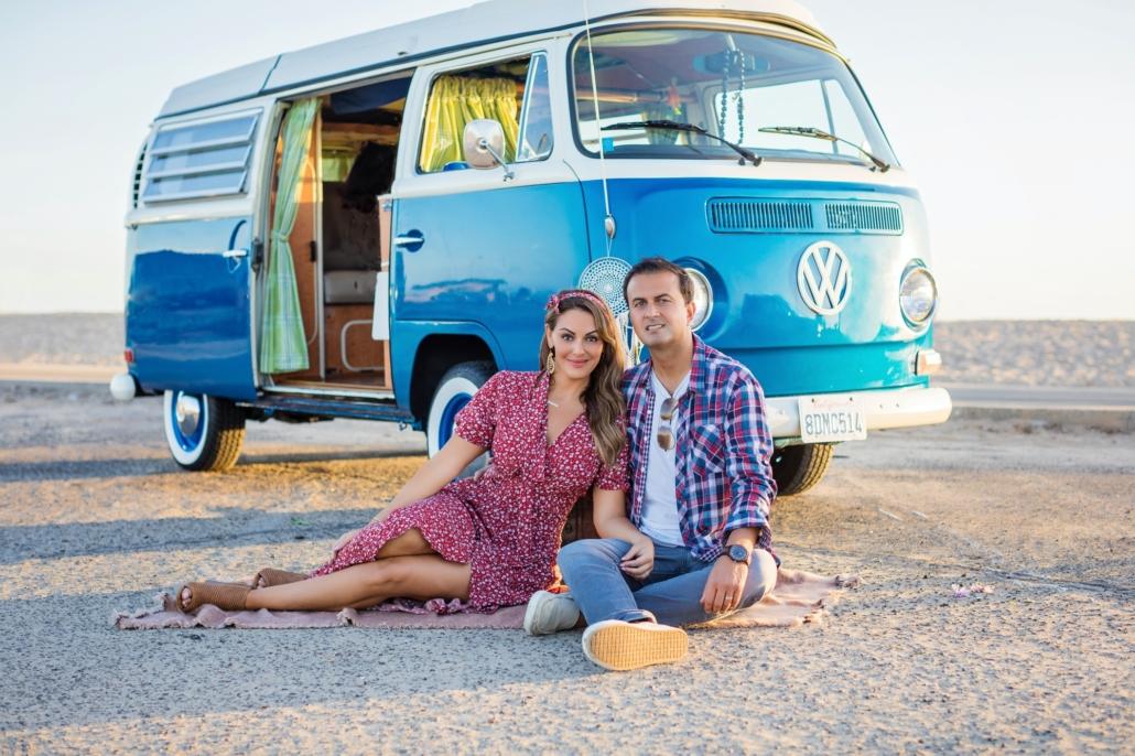 Huntington beach family portrait session in a vintage VW van.