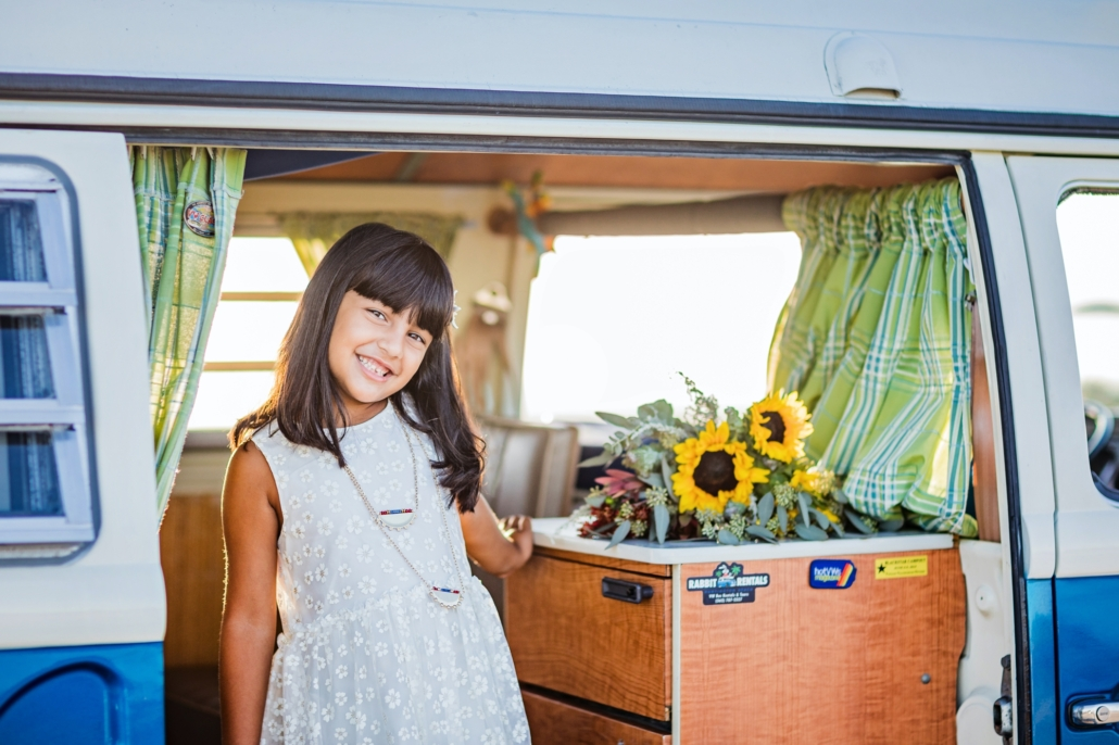 Sweet girl in a vintage vw van in Huntington Beach CA
