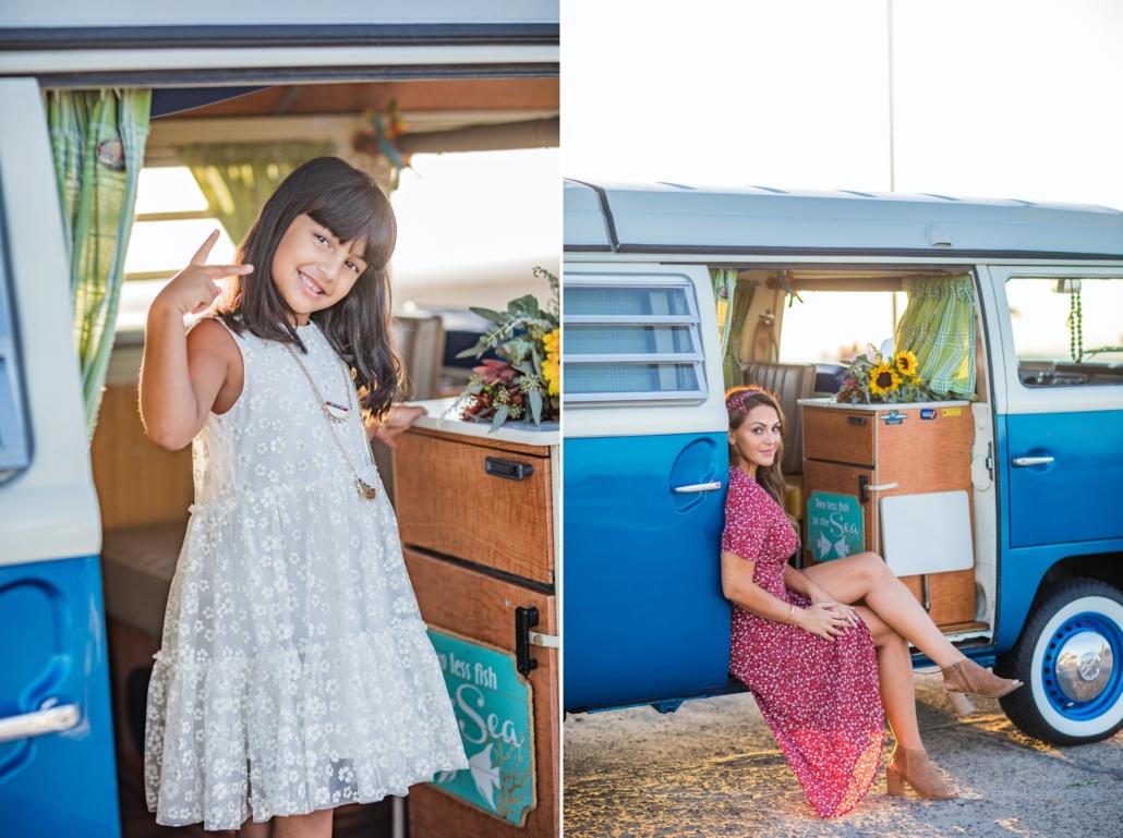 Mother and Daughter in a VW vintage van in Orange County, CA